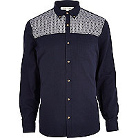 Navy tile print yoke Oxford shirt
