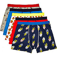 Navy cartoon food printed boxer shorts pack