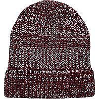 Dark red chunky twist knit beanie hat