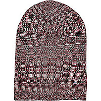 Dark red mixed twist knit beanie hat