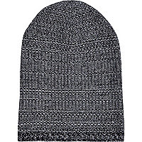 Grey mixed twist knit beanie hat