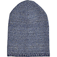 Blue mixed twist knit beanie hat