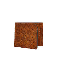 Tan leather diamond embossed wallet