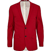 Bright red slim suit jacket