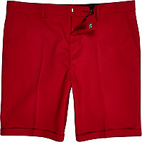 Bright red slim suit shorts