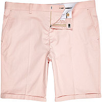 Pale pink slim suit shorts
