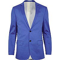 Cobalt blue slim suit jacket