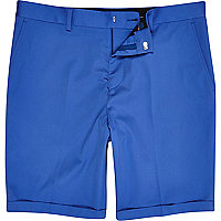 Cobalt blue slim suit shorts