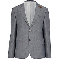 Light blue linen-blend suede trim blazer