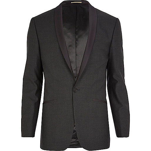 Grey contrast lapel skinny suit jacket