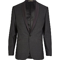 Grey contrast lapel slim suit jacket