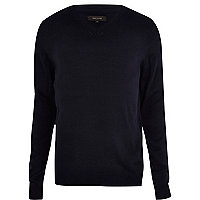 Navy blue V-neck jumper