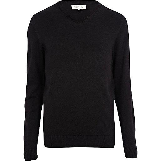 Black V-neck jumper