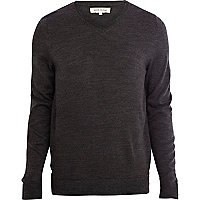 Dark grey V-neck jumper