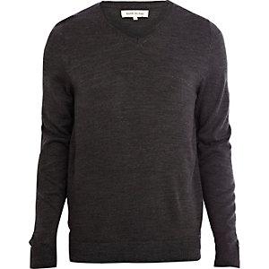 Dark grey V-neck jumper