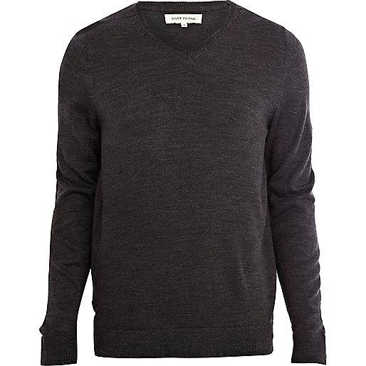 Dark grey V neck jumper