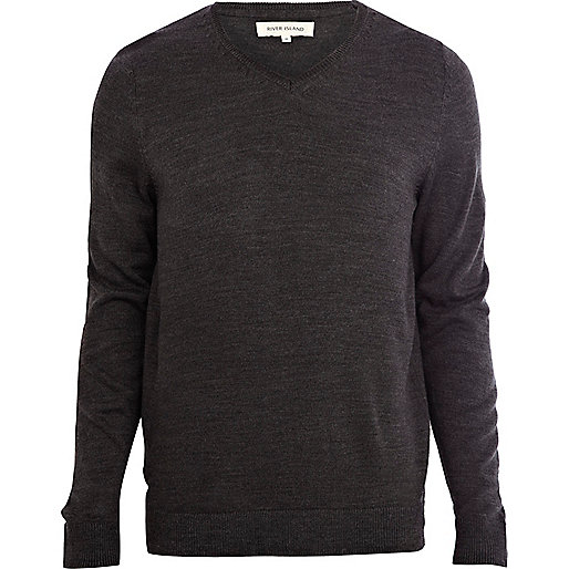 Dark grey V-neck sweater
