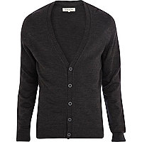 Dark grey V neck cardigan