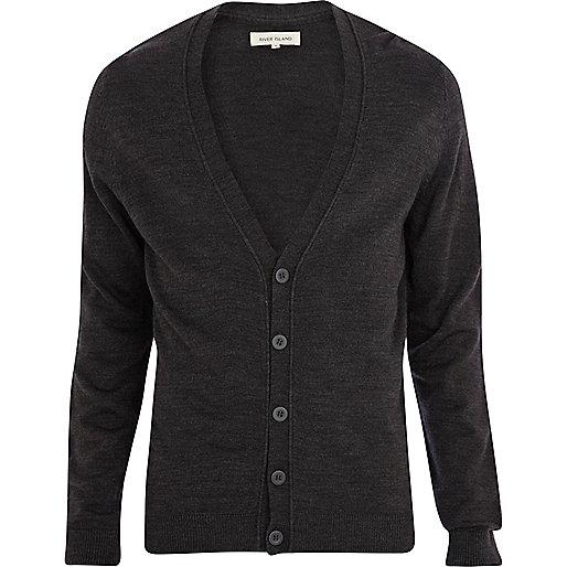 Dark grey V-neck cardigan