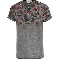Dark grey floral yoke print t-shirt
