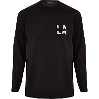 Black city back print long sleeve t-shirt