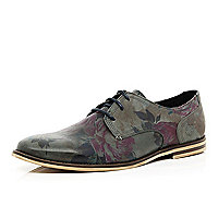 Grey floral print lace up shoes