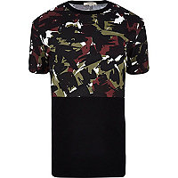 Black camo print colour block t-shirt