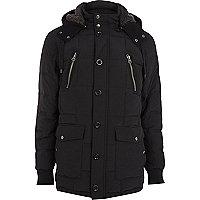 Black padded parka jacket