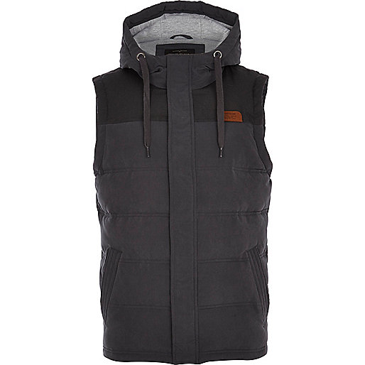 Dark grey padded casual gilet