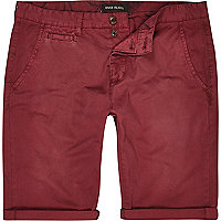 Red slim chino shorts
