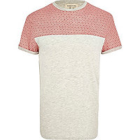 Red daisy print colour block t-shirt