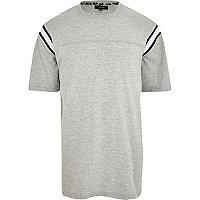 Grey marl rib stripe oversize t-shirt