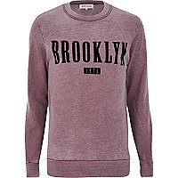 Dark red Brooklyn print sweatshirt