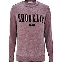Dark red Brooklyn print sweatshirt