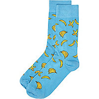Blue banana print socks