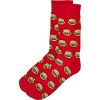 Red burger print socks