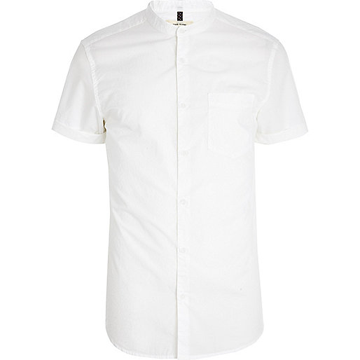 White short sleeve grandad shirt