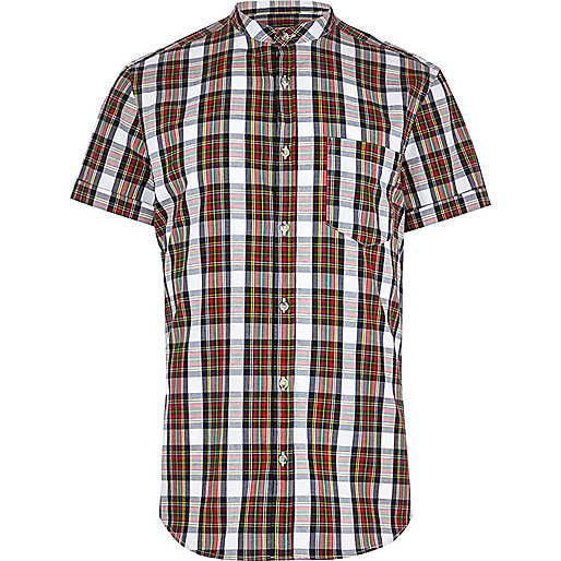 Red tartan grandad collar shirt