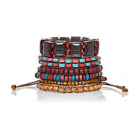 Red tribal bead bracelet pack