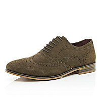 Brown suede wingtip brogues