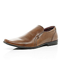 Tan square toe slip on shoes