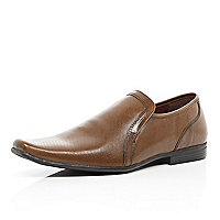 Tan square toe perforated slip on shoes