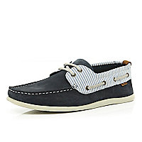 Navy stripe boat shoes