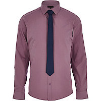 Mauve long sleeve shirt with tie