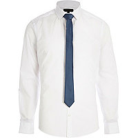 White long sleeve shirt with tie