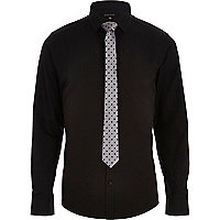 Black long sleeve shirt with tie