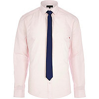 Light pink long sleeve shirt with tie