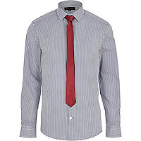 Navy blue striped long sleeve shirt with tie
