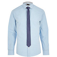 Blue check long sleeve shirt with tie