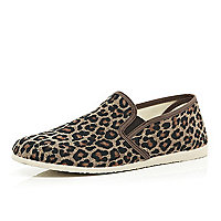 Brown leopard print slip on plimsolls